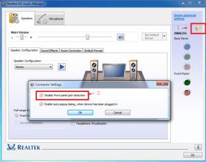 Troubleshoot using Realtek HD Audio Manager settings