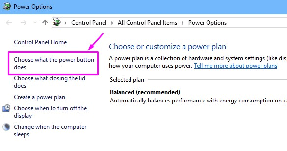 Power Options-Choose what the power button does