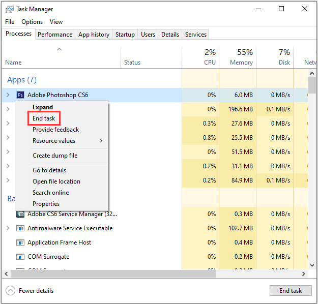 Task Manager-Stop All the Background Programs