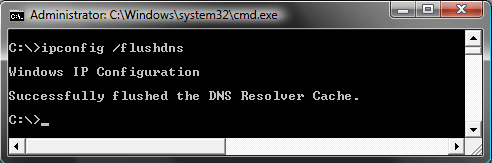 Reset the DNS cache