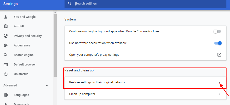 Settings-Reset and clean up