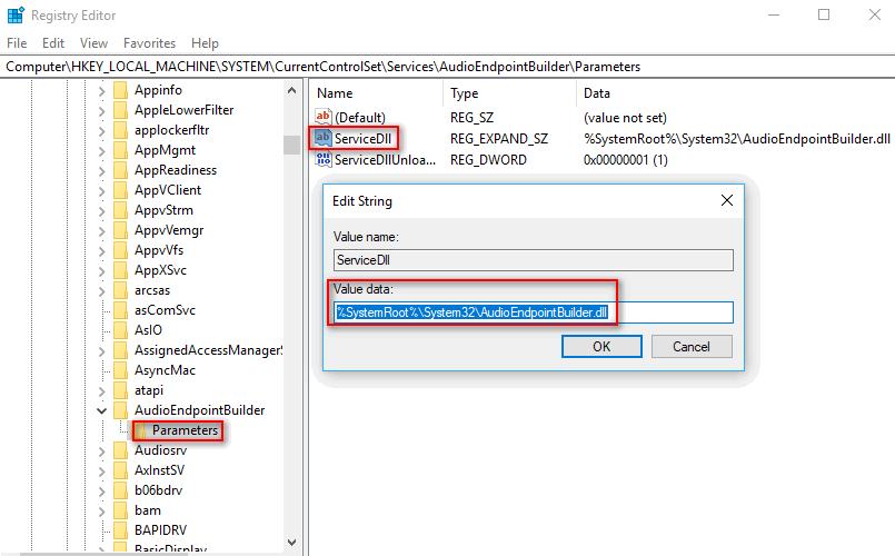 detect AudioEndPointBuilder and change servicedll