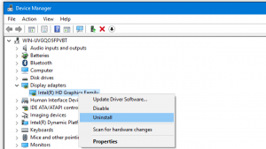 Choose the Uninstall device option from the drop-down menu
