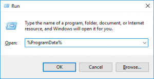 Launch the Run dialog box