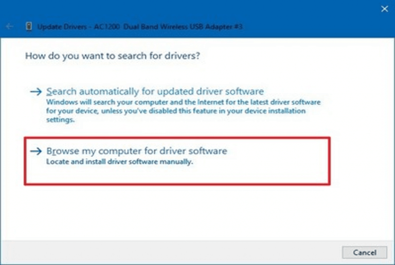 Brows my computer for driver software to update Outdated Drivers