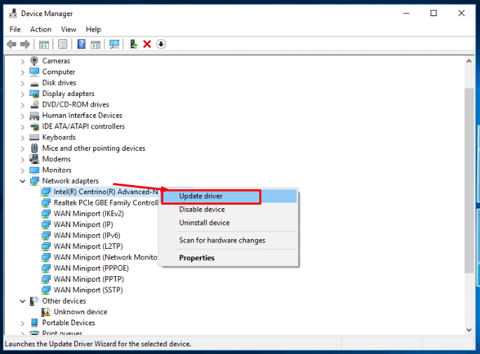 Use device manager and select update driver option