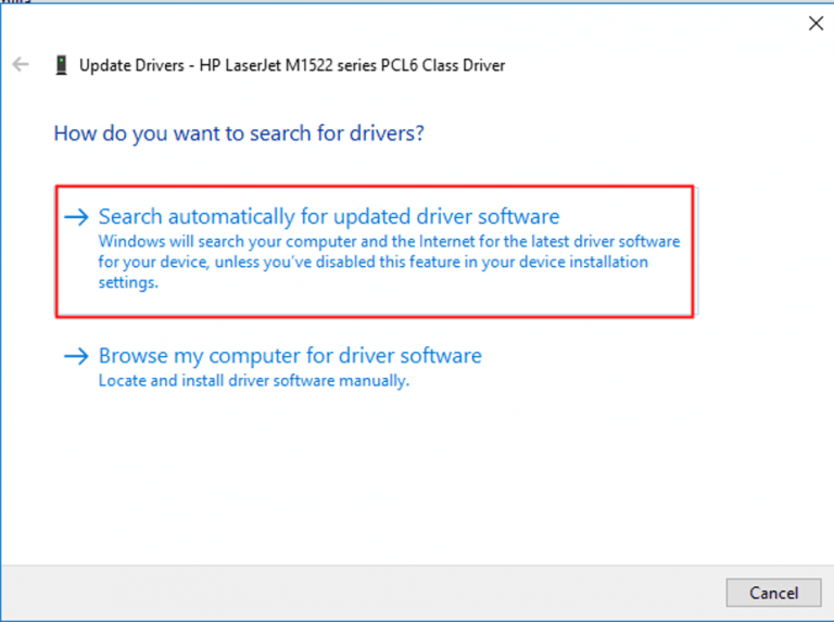 Search driver automatically for the latest driver version