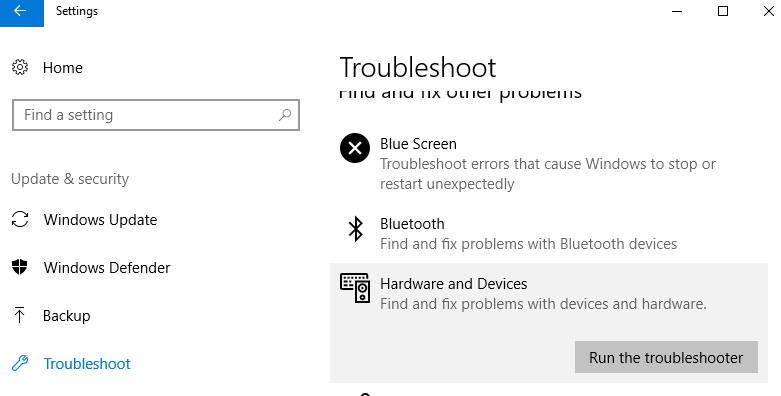 Run the troubleshooter button