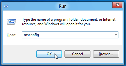 "Type ""msconfig"" to go to the System Configuration window"