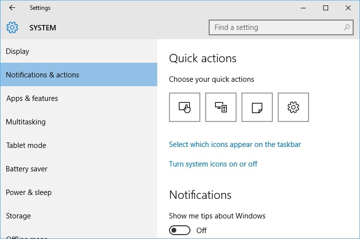 Enable the battery icon to fix Missing Battery Icon in Windows 10