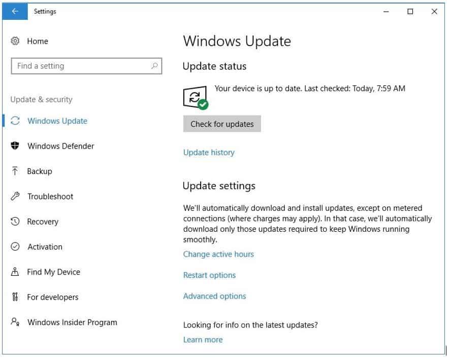 Click on Windows Update button