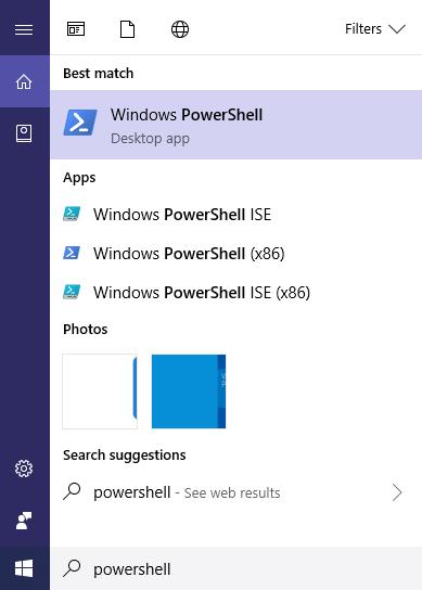 Type powershell to launch Windows PowerShell