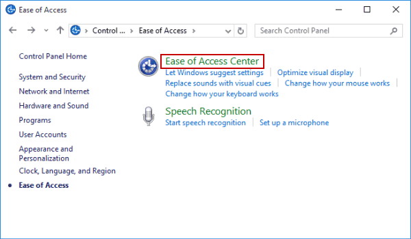 Click on the Ease of Access Center