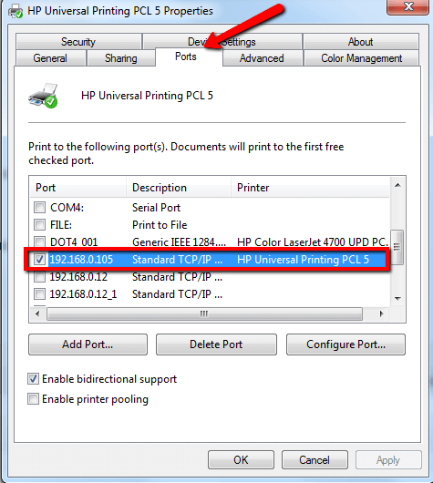 Check the box of the port having your printer's name