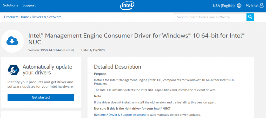 Management Engine Consumer Driver for Intel