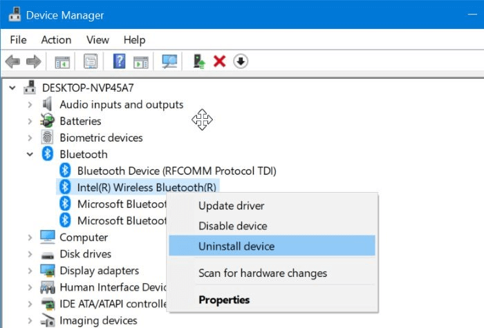 Right-click on the Bluetooth driver and select the Uninstall device option