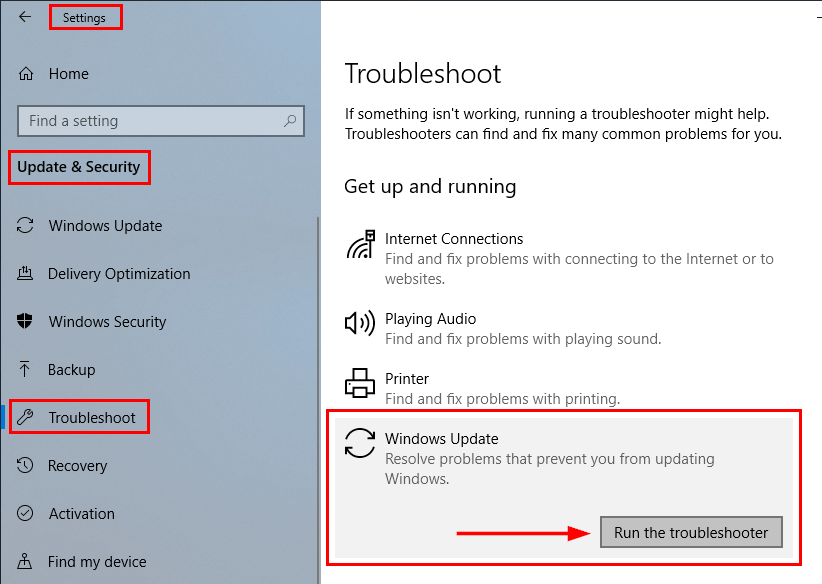 Run the Windows Update Troubleshooter to fix Windows 10 version 1903 failed to install