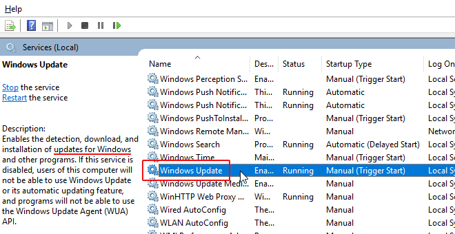 Right-click on the Windows Update service