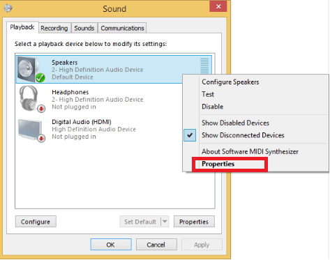 Click the Properties option to fix Audio Delay Issue