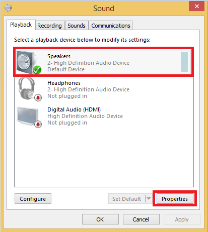Select the default device and then click the Properties option