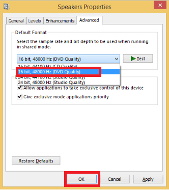 Choose 16 bit, 48000 Hz (DVD Quality) and then click OK button