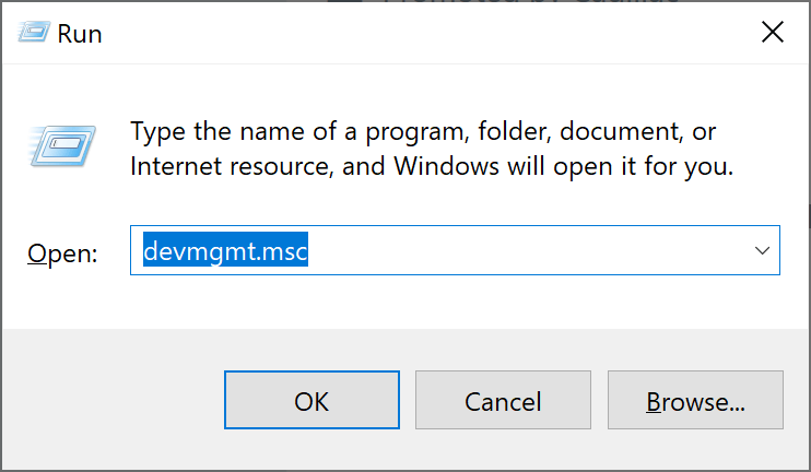 "type ""devmgmt.msc"" in the Run dialog box"