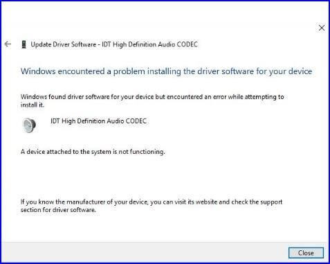 IDT High Definition Audio CODEC Driver Issue