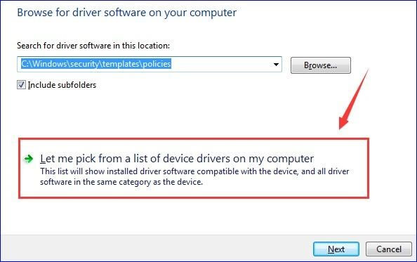 Select Let me pick up a list of device drivers on my computer option