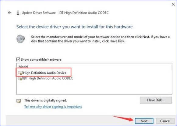 Select High Definition Audio Device and click the Next button