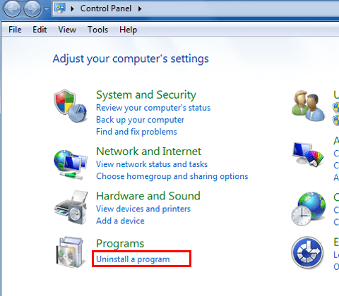 Control Panel-Click on the Uninstall a program option