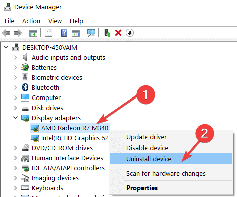 Device Manager-Uninstall device
