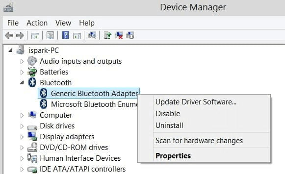 Device Manager-right click on the generic bluetooth radio driver option