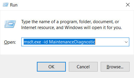Input the following command-msdt.exe-id-MaintenanceDiagnostic