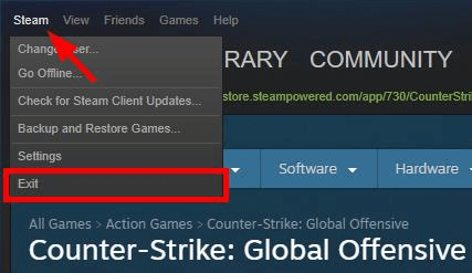 Steam client window- click on the option of Exit