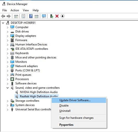 Update Realtek high definition audio driver
