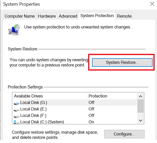 click the System Restore button