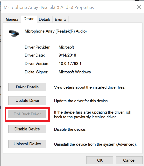 Press the Roll Back Driver Button to Restore Sound Driver on Windows 10