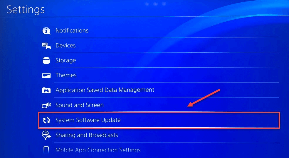 Click the System Software Update option and Fix PS4 No Sound Issue