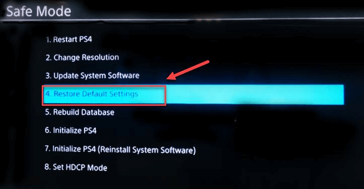 Restore to Default Settings|PS4 Sound Not Working