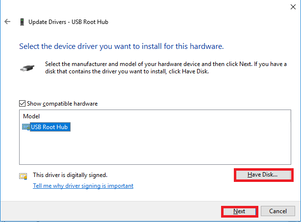 Click the option of Have disk | USB 3.0 Driver Download