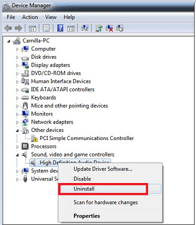 Uninstall sound device driver