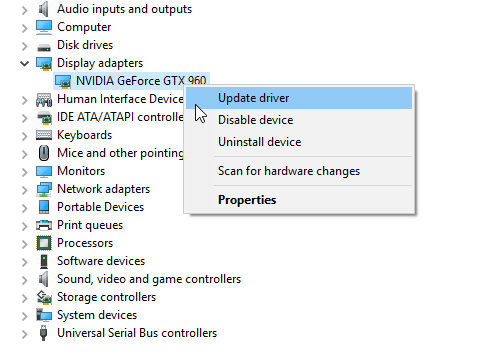 Click on the Network adapters and update GeForce GTX 960 driver