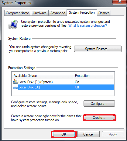 System Properties-click on the Create button