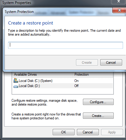 System Protection window