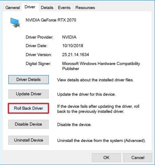 Click on roll back driver option