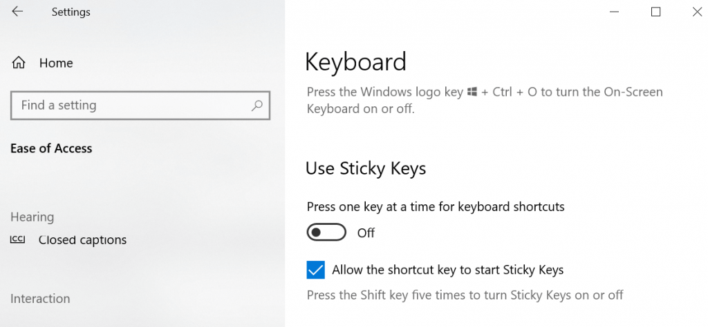 Press one key at a time for keyboard shortcuts