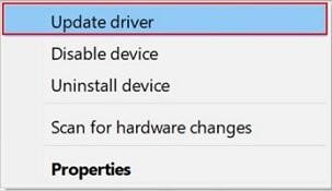 Choose Update Driver option
