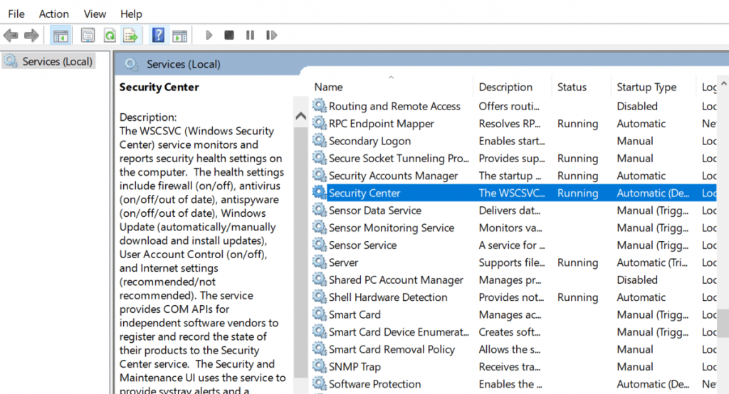 Security Center tab option