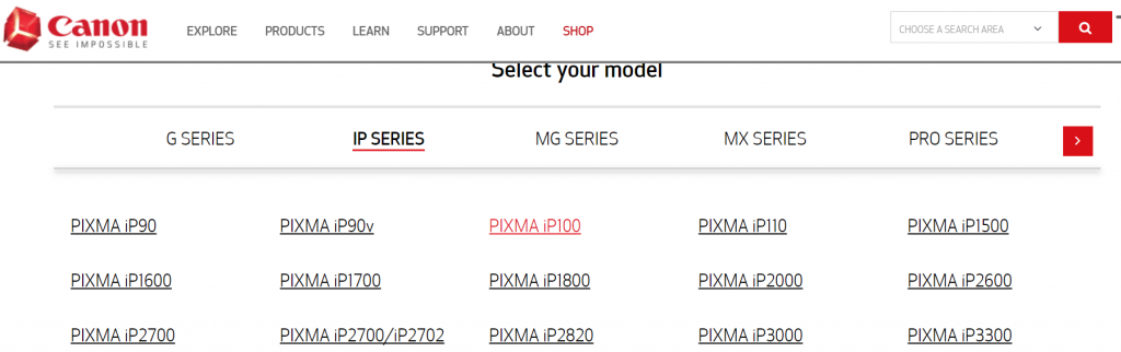Select IP Series and then click on PIXMA iP110