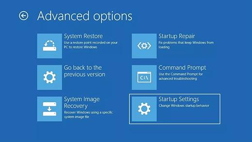 Select Startup Settings